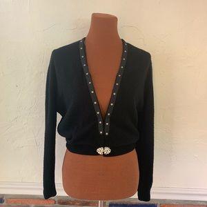Vintage Black 100% Cashmere Cardigan